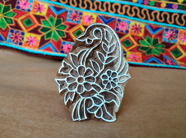Ethnic Flower Pattern Stamp Textile Cards Print Handmade Ethnic Crafts. Pottery Wooden Handcarved Stamp For Block Printing Leather