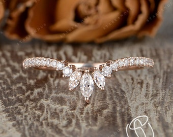 Custom Curved Matching Band Marquise Moissanite Wedding Band Antique Cluster Ring Guard Rose Gold Chevron Band Ring Enhancer Women Gift