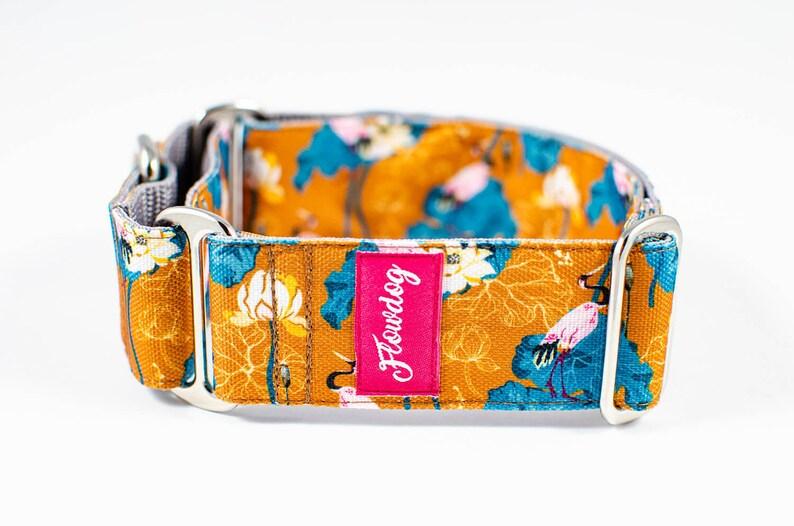 Japanese dog collar Japanese Garden Martingale Dog Collar Adjustable dog collar Orange dog collar