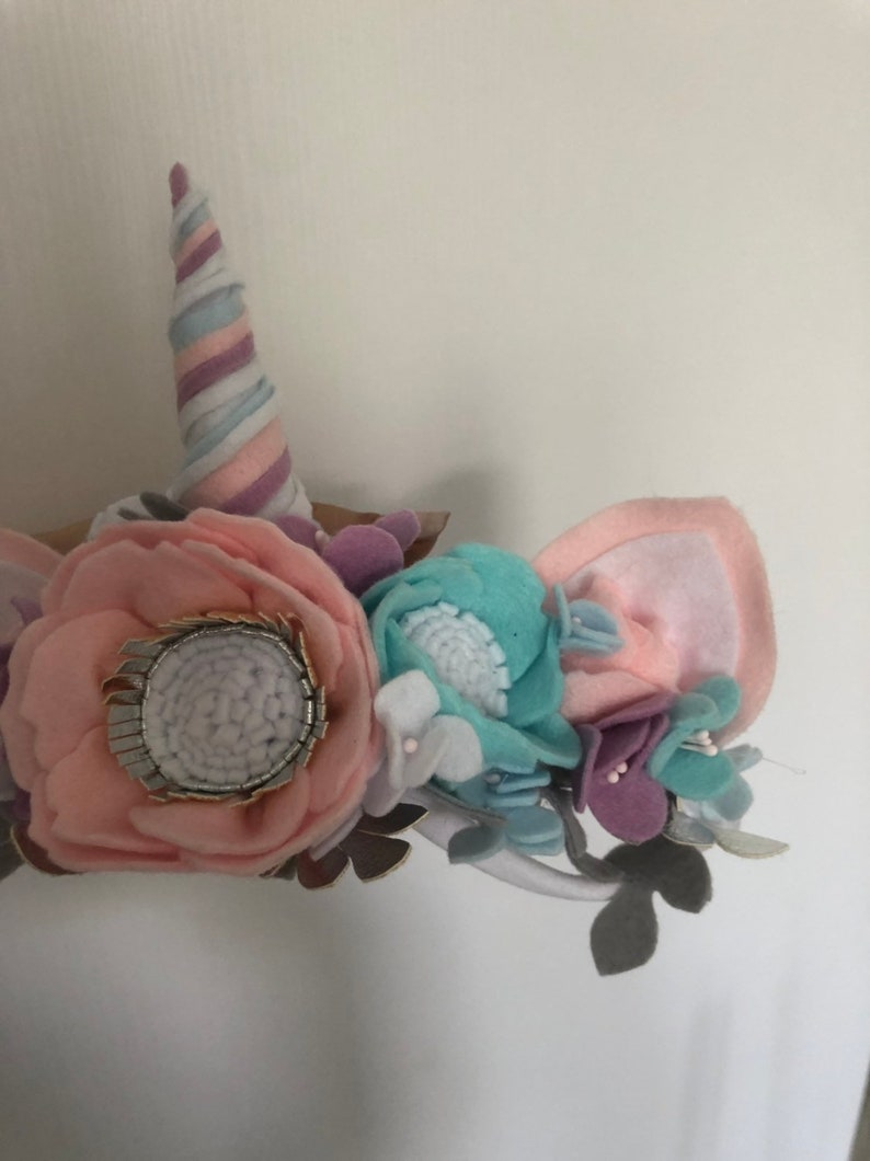 Unicorn Headband Crown  Babygirl Flowers Girl Wool Felt Gift Newborn Outfit