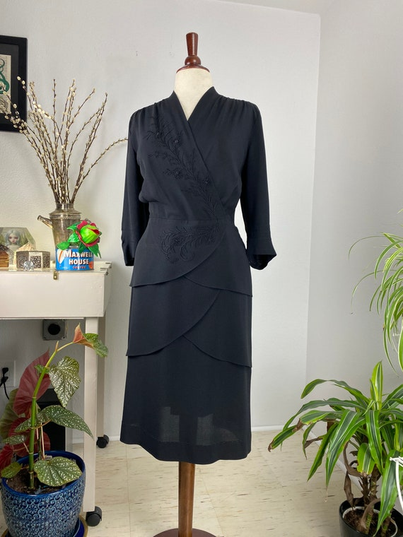 Vintage 1940's Black Rayon Embroidered Faux Wrap D