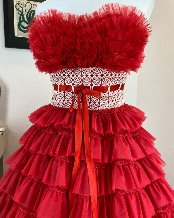 Vintage 1950's Red Frilled Beauty