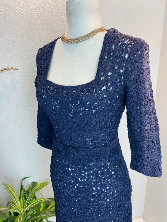 1940s Knit Ribbon Dress / 40s Ribbon Dress / 1940… - image 4