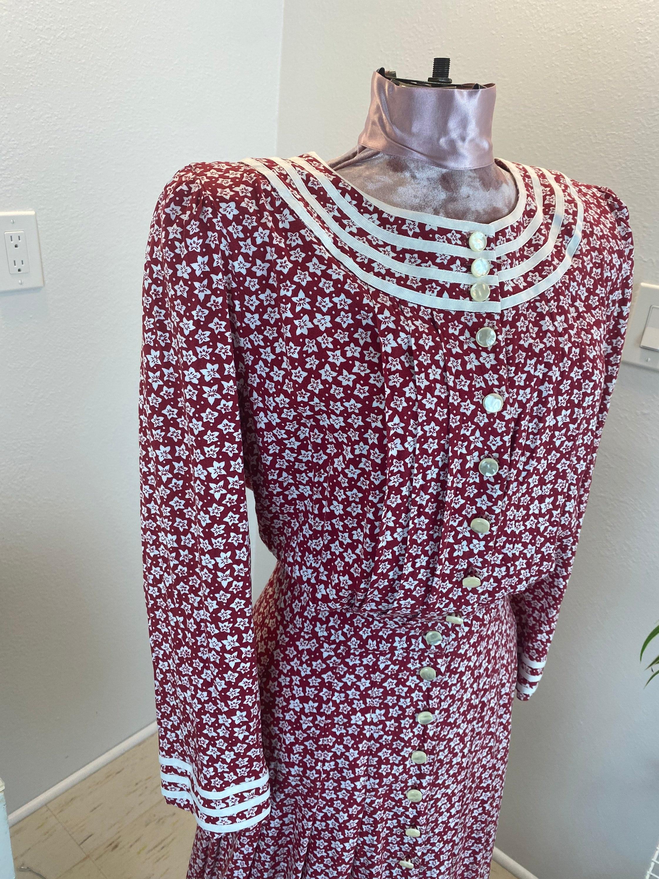 80s Dresses   Casual to Party Dresses Vintage 1980s Dress Red Floral $30.00 AT vintagedancer.com