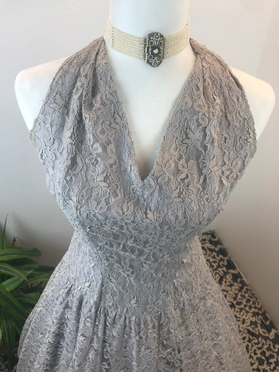 Vintage 1950s Lace Halter Dress