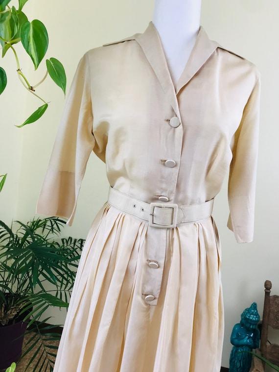 1950s Alfred Shaheen Pure Silk Shirt Dress - image 4