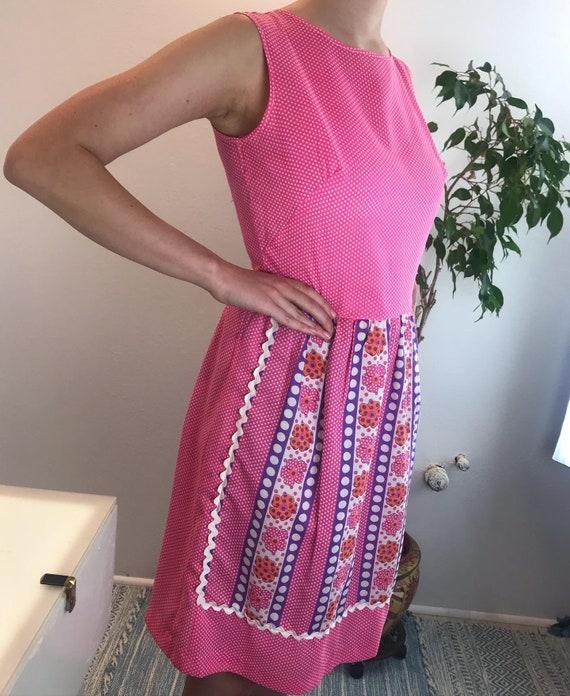 Vintage 1960's Pink Polka Dot Day Dress