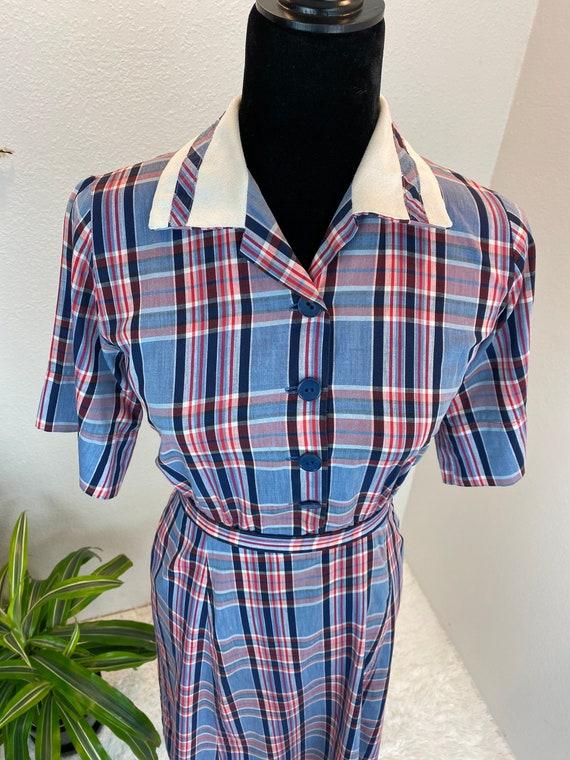 1940s Plaid Dress / 40s dress Blue Plaid with belt - image 8