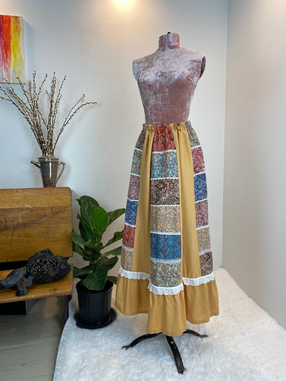 Vintage 1970's Patchwork Quilted Skirt - image 1