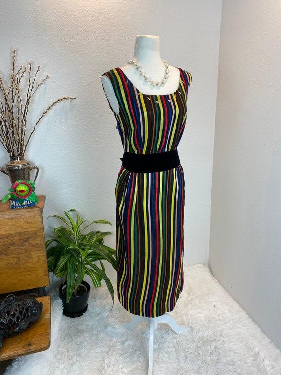 1950s Rainbow Dress / 50s Dress Rainbow Rhineston… - image 4