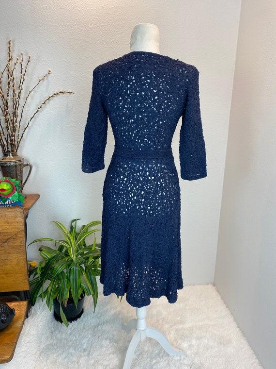 1940s Knit Ribbon Dress / 40s Ribbon Dress / 1940… - image 6