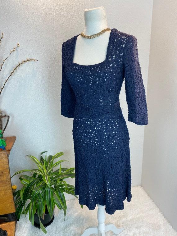 1940s Knit Ribbon Dress / 40s Ribbon Dress / 1940… - image 2
