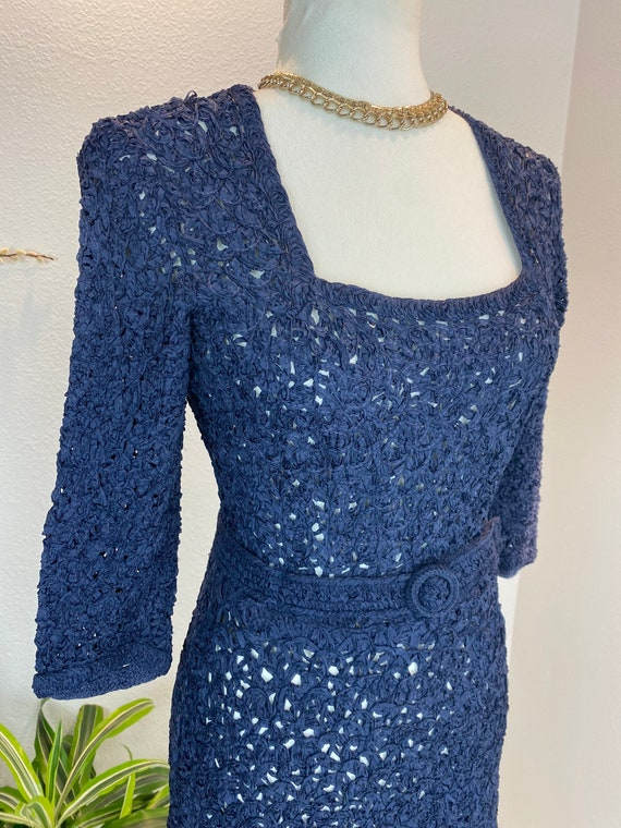 1940s Knit Ribbon Dress / 40s Ribbon Dress / 1940… - image 10