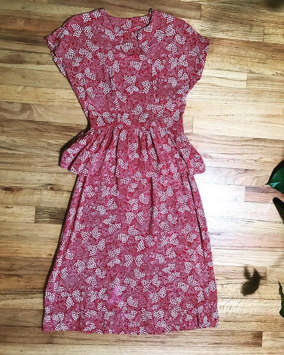 1940s  Red Bow Peplum Magic Rayon Dress