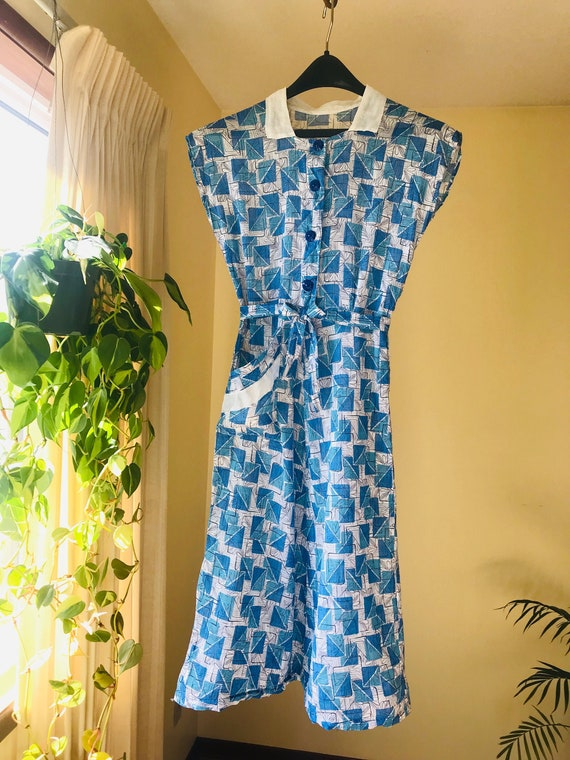 1940s Cotton Day Dress Vintage 1940s Dress