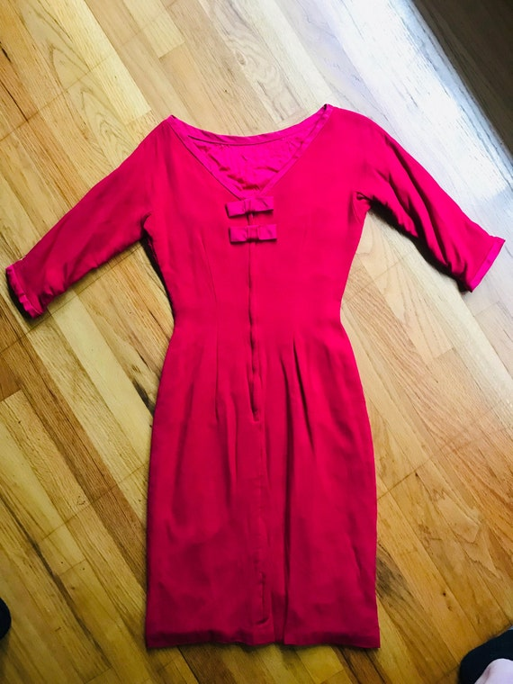Vintage 1950s Dress Raspberry Wiggle Petite