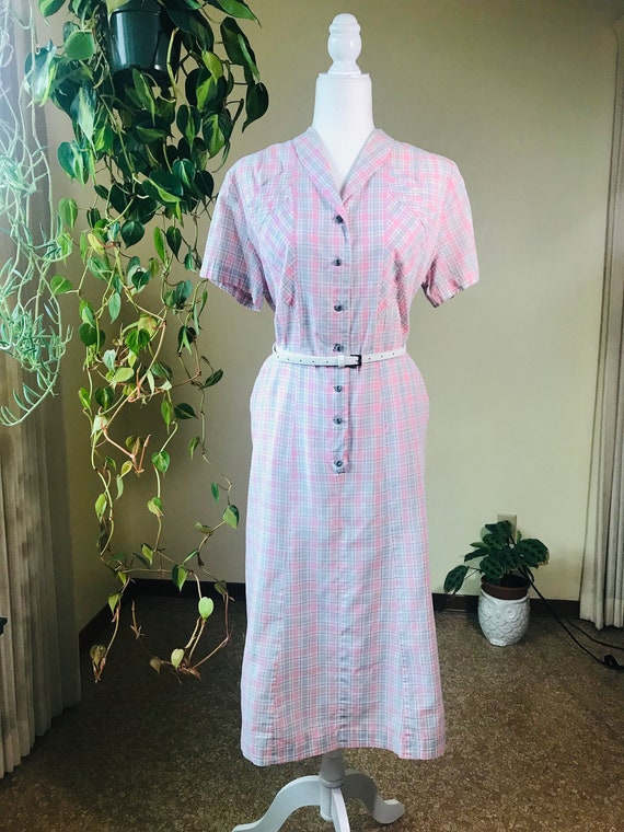 1940s Dress XL Pink, Grey, White, and Red Plaid Dr