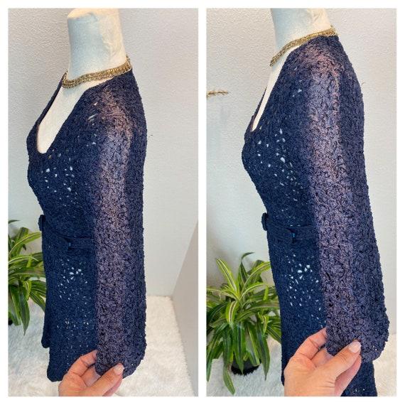 1940s Knit Ribbon Dress / 40s Ribbon Dress / 1940… - image 5