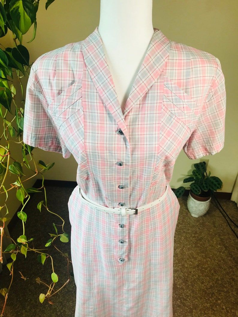 1940s Dress XL Pink and Red Plaid Dress- by Janet Lynn Grey White