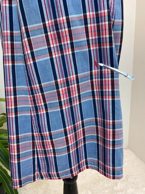 1940s Plaid Dress / 40s dress Blue Plaid with belt - image 7