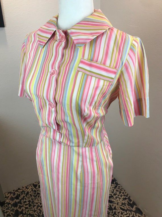 Vintage 1950s Pastel Rainbow Volup Dress