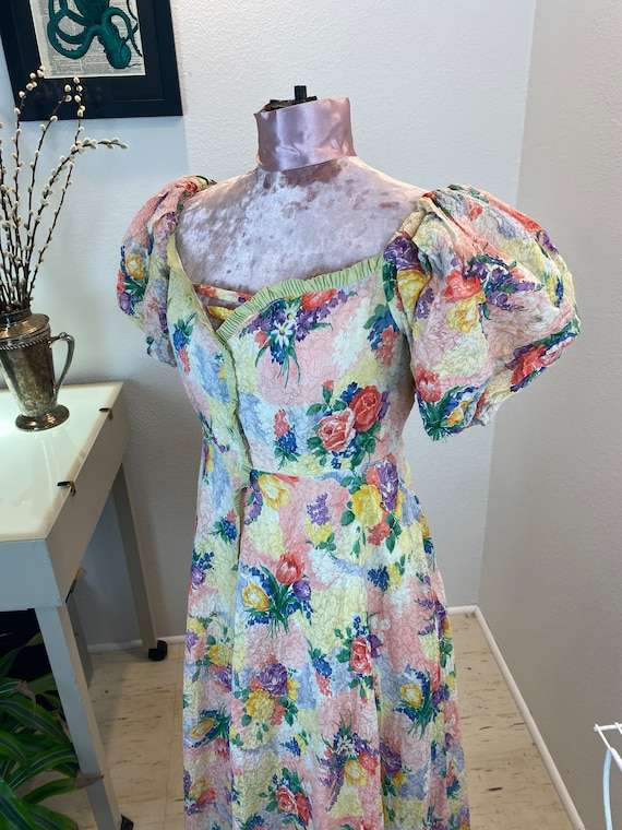 Vintage 1930's Puff Sleeve Floral Maxi