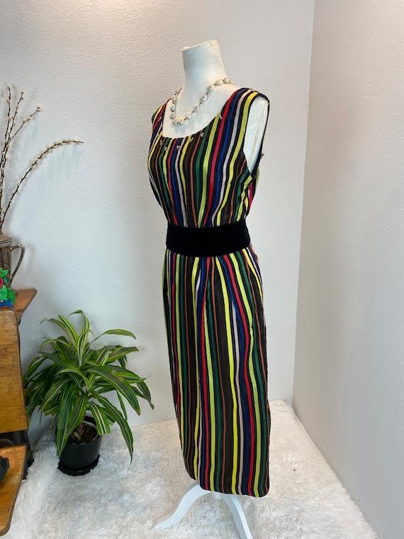 1950s Rainbow Dress / 50s Dress Rainbow Rhineston… - image 5