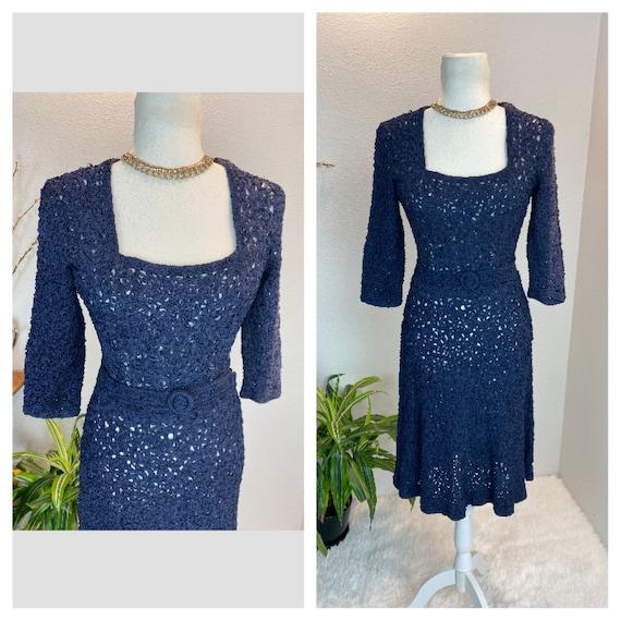 1940s Knit Ribbon Dress / 40s Ribbon Dress / 1940… - image 1