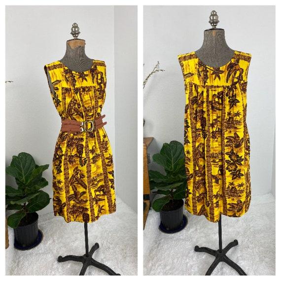 Vintage 1960's  Hawaiian Dress - Novelty Print