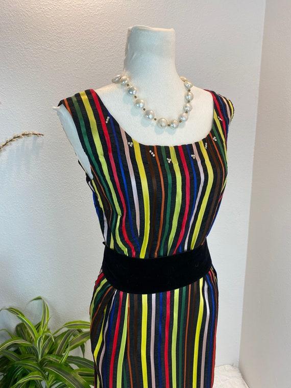 1950s Rainbow Dress / 50s Dress Rainbow Rhineston… - image 6