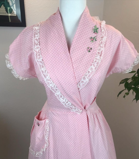 Vintage 1980s does 1940s Pink Wrap Dress