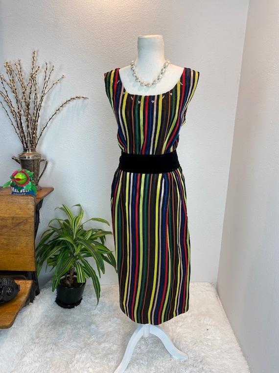1950s Rainbow Dress / 50s Dress Rainbow Rhineston… - image 2
