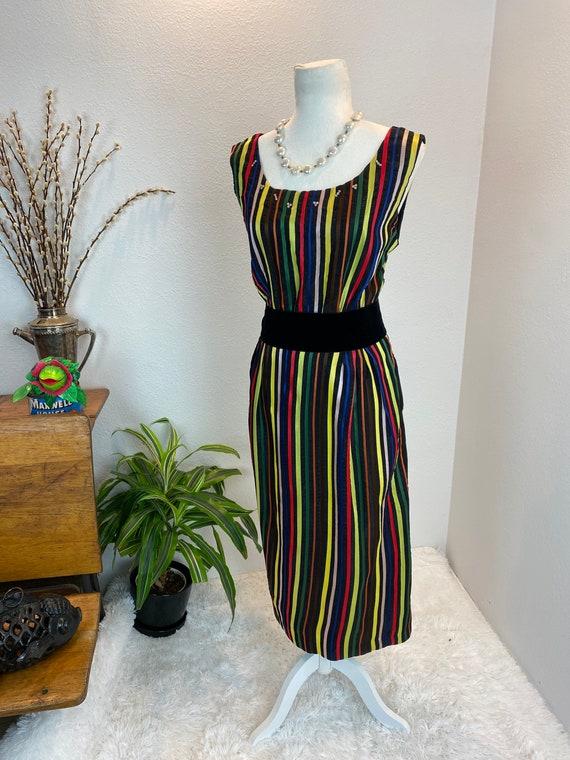 1950s Rainbow Dress / 50s Dress Rainbow Rhineston… - image 9