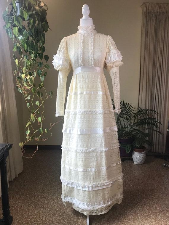 1960s Emma Domb Cream wedding/party dress.