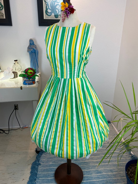 Vintage 1960's Lemon and Lime Striped Dress Volup
