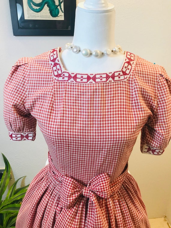 1950s Gingham Dress with Hand Ebroidered Collar an