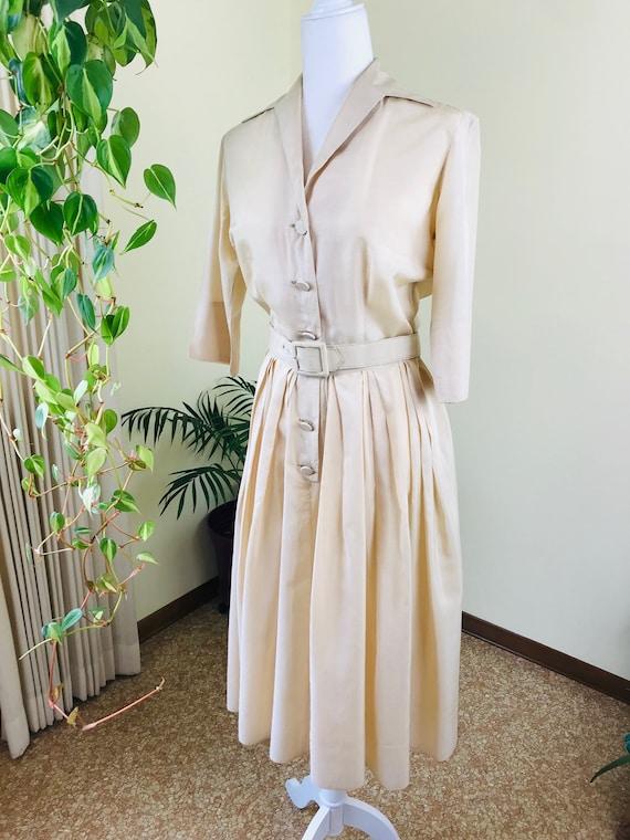 1950s Alfred Shaheen Pure Silk Shirt Dress - image 1