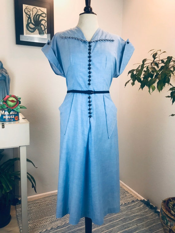 Vintage 1940's Light Blue Dress with Gingham Loops