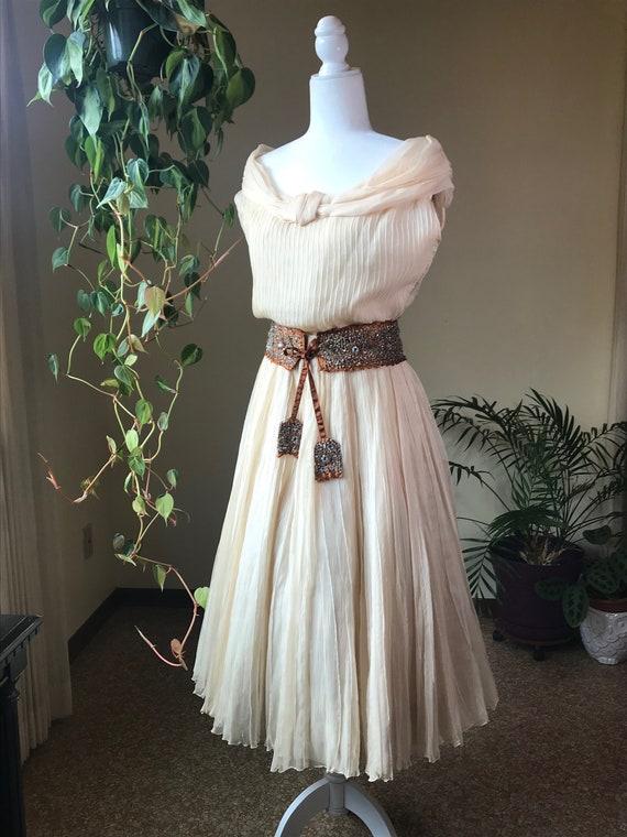 Vintage 1950s Chiffon Panel Skirt and Blouse Set