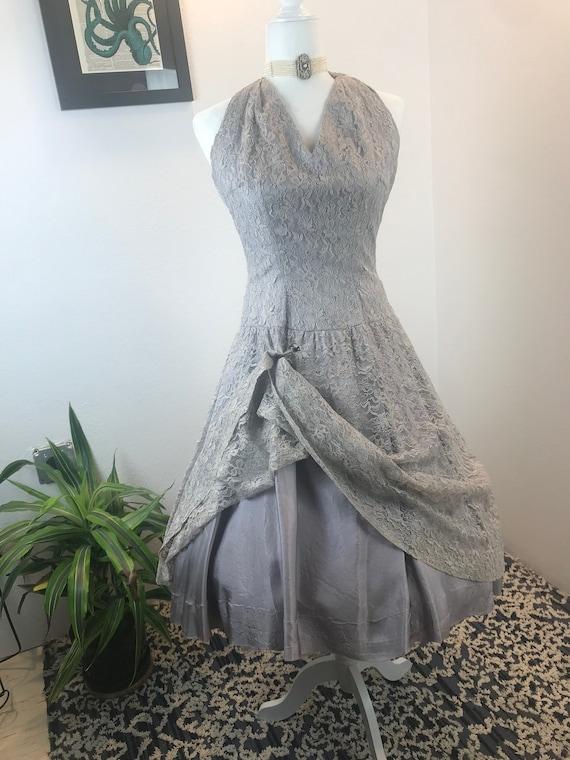 Vintage 1950s Lace Halter Dress - image 6