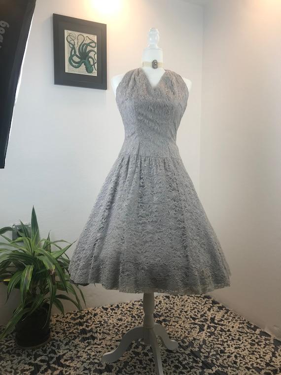 Vintage 1950s Lace Halter Dress - image 4