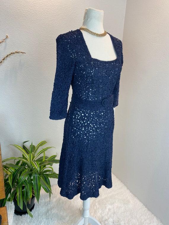1940s Knit Ribbon Dress / 40s Ribbon Dress / 1940… - image 3