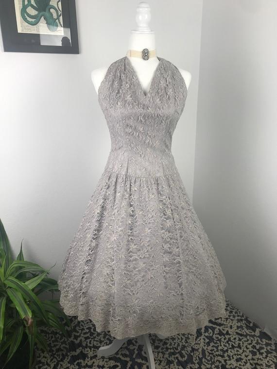 Vintage 1950s Lace Halter Dress - image 2