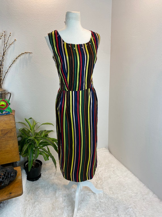 1950s Rainbow Dress / 50s Dress Rainbow Rhineston… - image 8