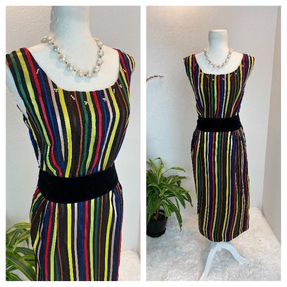 1950s Rainbow Dress / 50s Dress Rainbow Rhineston… - image 1