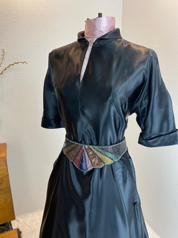 Vintage 1940/1950 Liquid Black Satin Dress