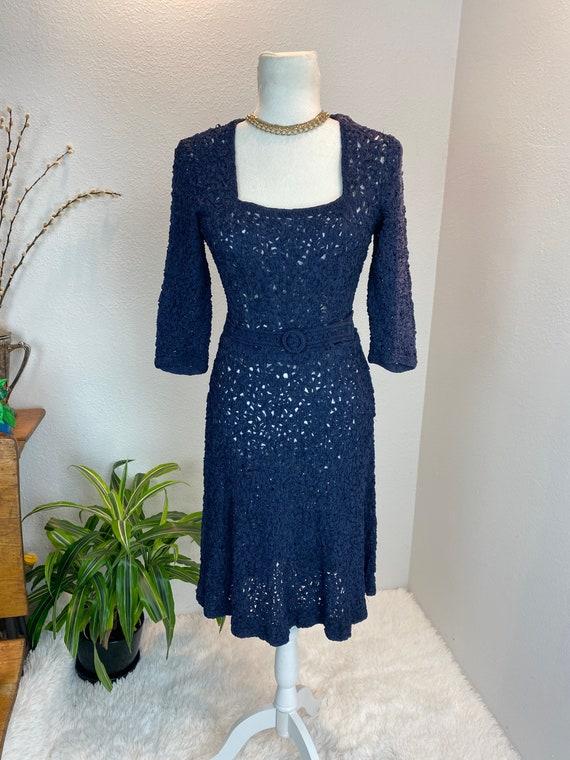 1940s Knit Ribbon Dress / 40s Ribbon Dress / 1940… - image 9