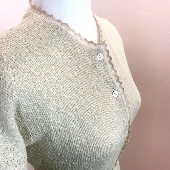 Vintage 1950s Anne Fogarty Butter and lace Knit Dr