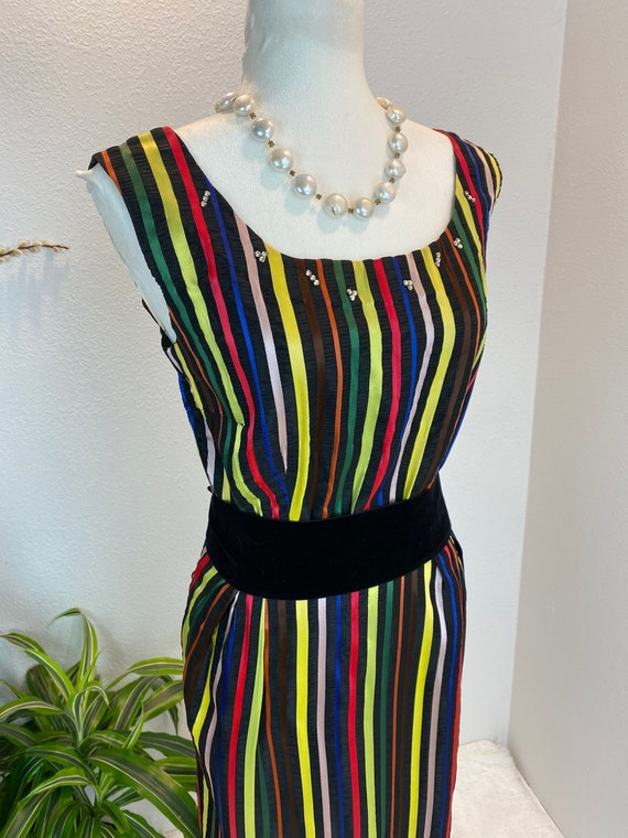 1950s Rainbow Dress / 50s Dress Rainbow Rhineston… - image 10