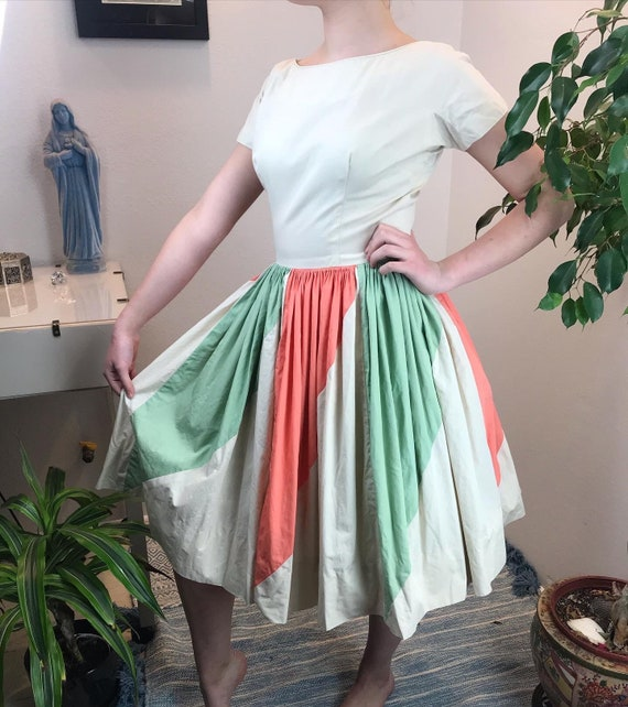 Vintage 1950s Color Block Fit and Flare